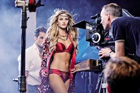 Rosie Huntington-Whitely shooting for M&S Christmas advert